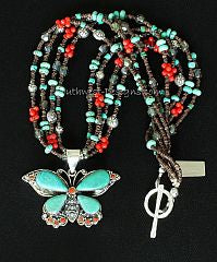 Turquoise, Coral and Sterling Silver Butterfly with Gemstones and Sterling Silver