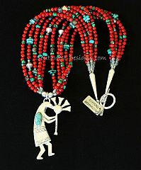 Turquoise & Sterling Silver Kokopelli with 5 Strands of Coral & Turquoise