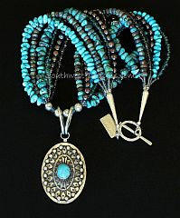 Turquoise and Sterling Silver Oval Pendant with 6 Strands of Turquoise, Pearls, Blue Lace Agate and Sterling Silver