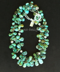 Turquoise Petal Necklace 2-Strand Necklace with Fire Polished Glass and Sterling Silver