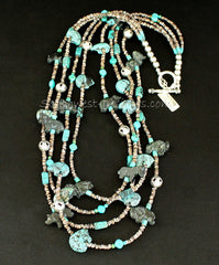Turquoise and Horn Bead Amulet Necklace with Olive Shell Heishi and Sterling Silver