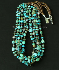 Mixed Turquoise 5-Strand Necklace with Czech Glass, Fire Polished Glass, Tortoise Shell Heishi and Sterling Silver
