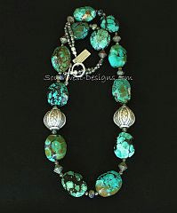 Turquoise Faceted Oval Necklace with Turkish Glass Bicones and Sterling Silver Woven Rounds
