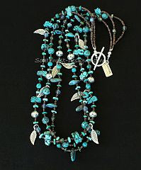 Turquoise Talisman, Rounds & Briolette Necklace with Crystal, Fire Polished Glass and Sterling Silver