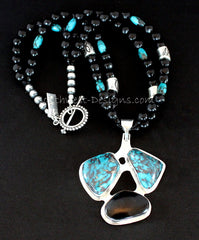 Turquoise, Indonesian Palm and Sterling Silver Pendant with New Mexico Black Jet, Turquoise & Sterling