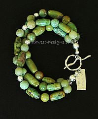 Turquoise and Jade 3-Strand Bracelet with Sterling Silver