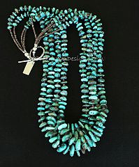 Nevada Turquoise Graduated Nugget 4-Strand Necklace with Olive Shell Heishi and Sterling Silver