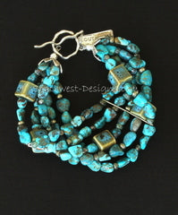 Turquoise Nugget 5-Strand Bracelet with Porcelain Cubes, Fire Polished & Indonesian Glass & Sterling Silver