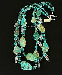 Turquoise Nuggets and Leaves 2-Strand Necklace with Green Rutilated Quartz and Sterling Silver