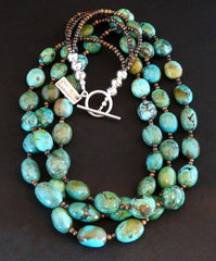 Turquoise Ovals 3-Strand Necklace with Bench-Made Sterling Silver Round, Bone Rounds and Sterling Toggle Clasp