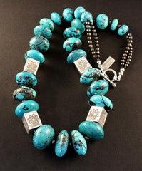 Turquoise Rondelle Bead Necklace with Sterling Silver Box Beads