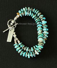 Turquoise Round Disc 2-Strand Bracelet with Olive Shell Heishi and Sterling Silver