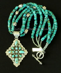 11-Stone Turquoise and Sterling Silver Diamond-Shaped Pendant with 3 Strands of Turquoise Heishi, Sterling Box Beads & Toggle Clasp