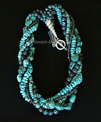 Turquoise and Shattuckite 5-Strand Twist Necklace with Sterling Silver