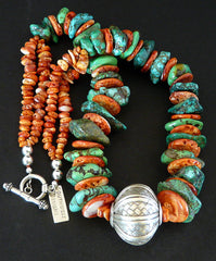 Turquoise Large Nugget Necklace with Spiny Oyster Shell Disc and Spiny Nuggets, and Hill Tribe Silver Woven Pendant Round