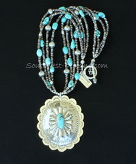 Turquoise and Sterling Silver Oval Pendant with 4 Strands of Turquoise Nuggets, Olive Shell Heishi and Sterling Silver