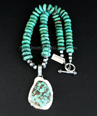 Turquoise and Sterling Silver Organic Pendant with Turquoise Rondells and Sterling