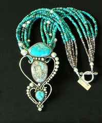 David Umpleby Fox, Royston Ribbon & Sleeping Beauty Turquoise & Sterling Pendant with Turquoise Rondelles & Sterling Silver