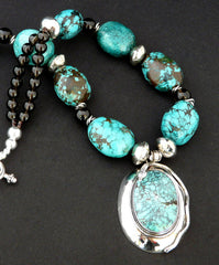 Turquoise and Sterling Silver Pendant with Turquoise Round Ovals, Smoky Quartz, Coin Silver and Sterling