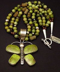 Gaspeite and Sterling SIlver Butterfly Pendant with British Columbia Jade, Agate Rounds, Carved Glass and Sterling Silver