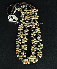 Unakite Faceted Teardrop 2-Strand Necklace with Czech & Fire Polished Glass and Sterling Silver