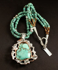 Variscite, Sterling Silver and Copper Wrapped Pendant with 3 Strands of Turquoise Rondelles, Black Agate and Sterling
