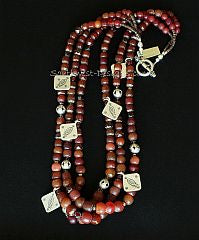 Vintage Burgundy Glass 3-Strand Necklace with Czech & Fire Polished Glass and Sterling Silver
