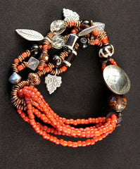 Multi-Strand Red White Heart and Copper Heishi Bracelet with Buffalo Nickel Clasp, Smoky and Rutilated Quatz, Horn Beads, and Sterling Leaf Charms