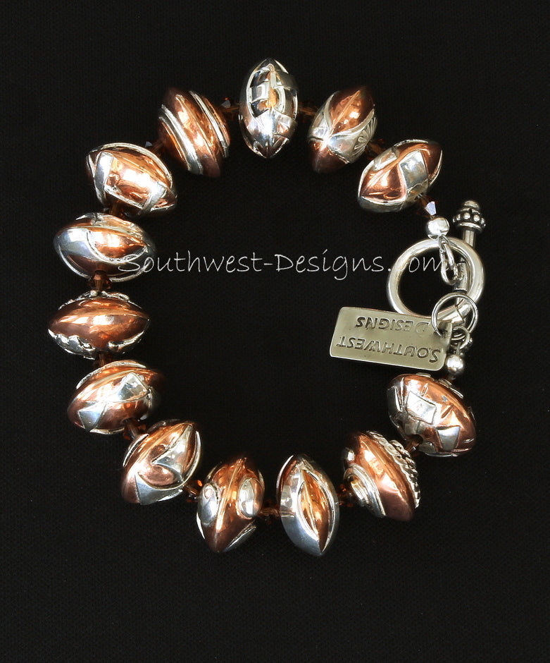 13-Bead Handcrafted Sterling and Copper Bracelet with Swarovski Crystal and Sterling Silver Toggle Clasp