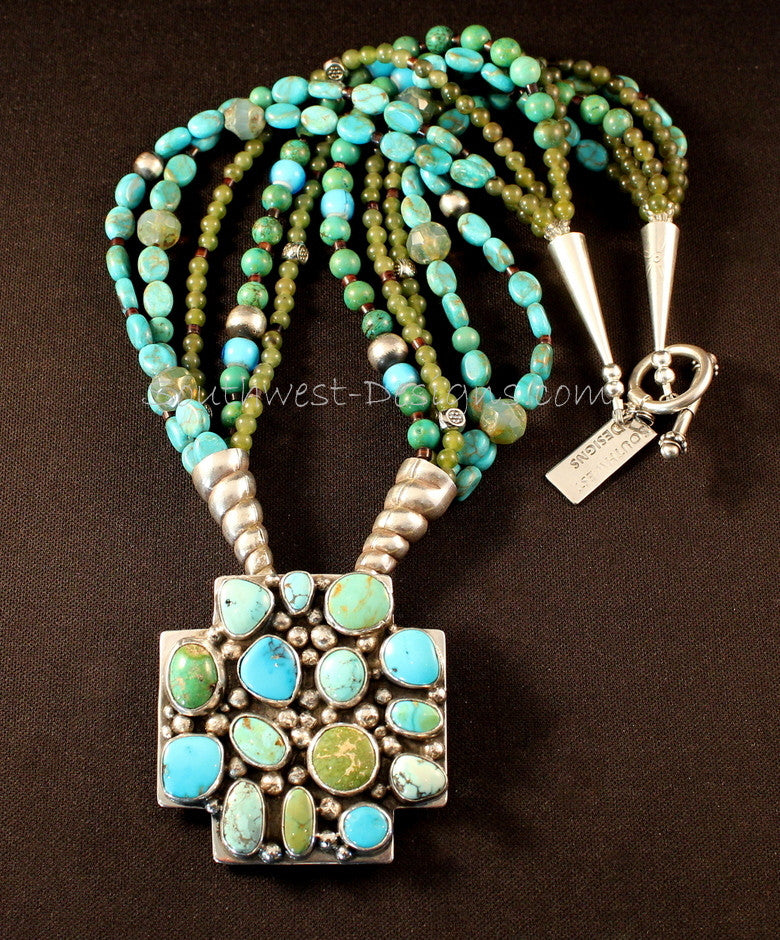 15-Stone Turquoise & Sterling Silver Pendant with 5 Strands of Turquoise, Jade and Sterling