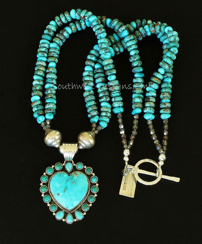 17-Stone Turquoise and Sterling Silver Heart Pendant with Turquoise Rondelles