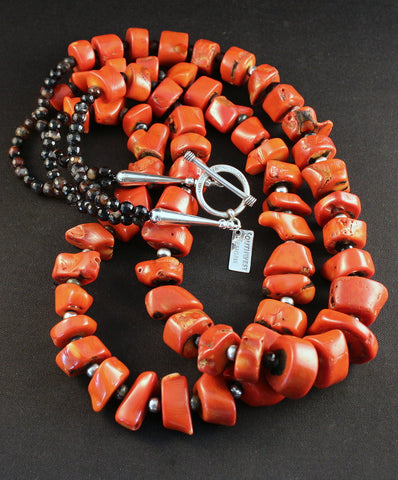 2-Strand Vintage Coral Necklace with Carnelian and Oxidized Sterling Silver