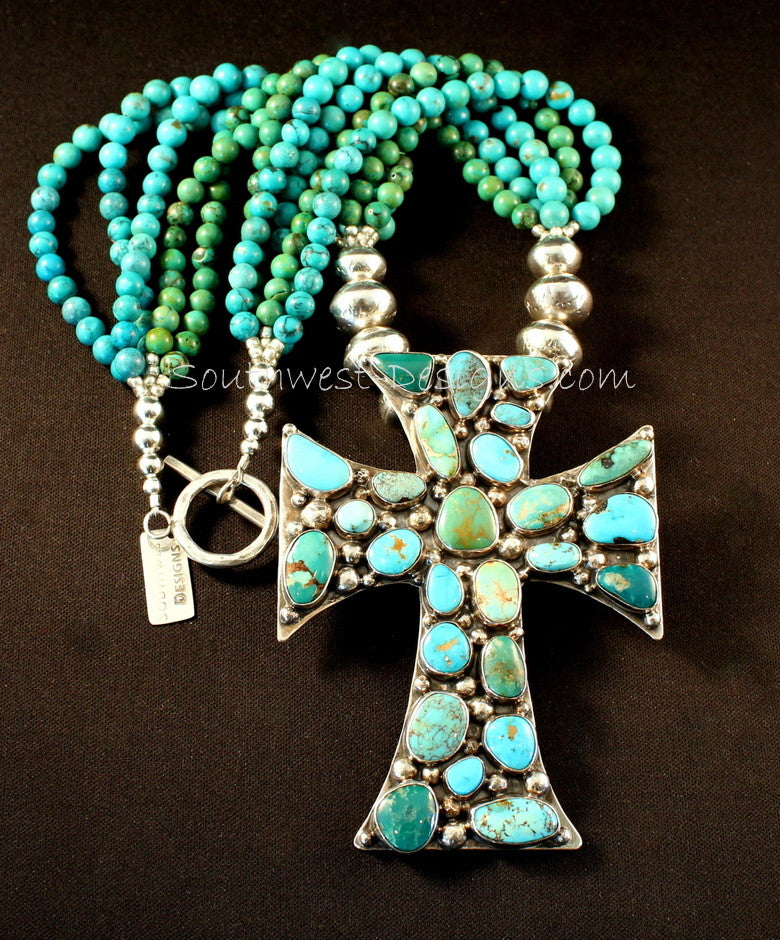 26-Stone Turquoise & Sterling Cross with Sterling Rondelles and 4 Strands of Turquoise Rounds