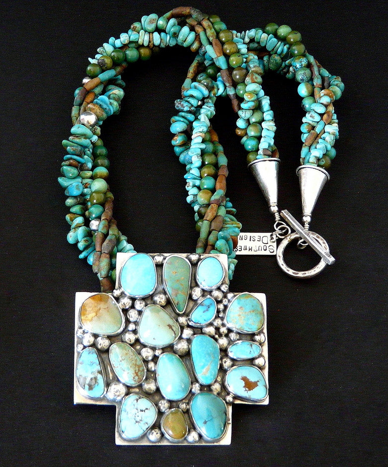 Three-Inch Turquoise and Sterling Silver Cross Pendant with 5-Strand Twist of Turquoise and Sterling