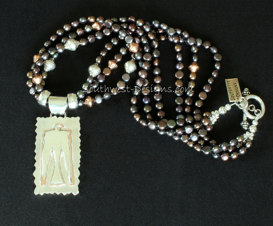 3-Layer Sterling and Copper Thunderbird with Black Button Pearls, Sterling Silver Urn Beads & Cylinders and Copper Bicones