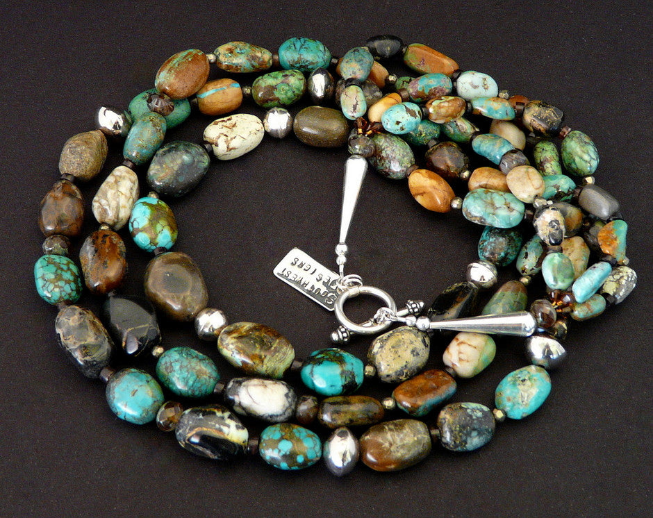 Royston Boulder and Opal-Like Turquoise 3-Strand Necklace with Sterling Silver