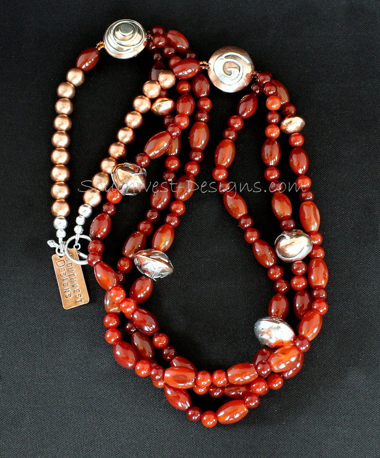Carnelian Round and Barrel Bead 3-Strand Necklace with Handcrafted Sterling & Copper Beads
