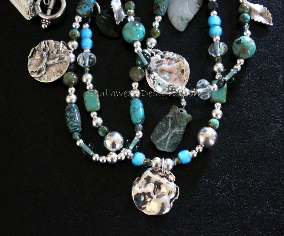 3-Strand Sterling Silver and Turquoise Artist Necklace with Jade Cylinders, Czech Glass, White Heart Beads, Labradorite Rounds, Vintage Nailheads, Sterling Leaf Charms, and Reticulated Silver Handcrafted Coins