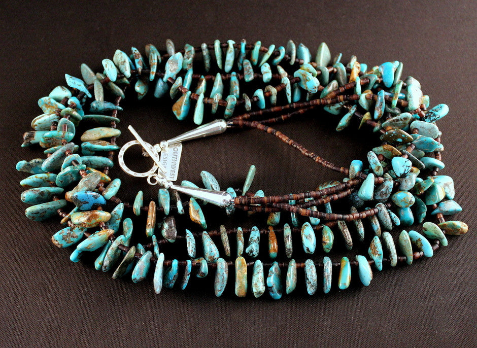 3-Strand Turquoise, Shell Heishi and Sterling Silver Necklace