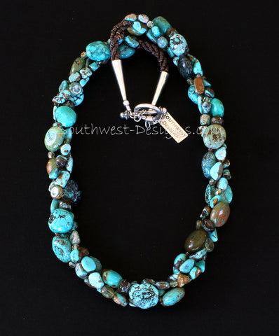 Turquoise Twist 3-Strand Necklace with Czech Luster Glass, Fire Polished Glass, Olive Shell Heishi and Sterling Silver