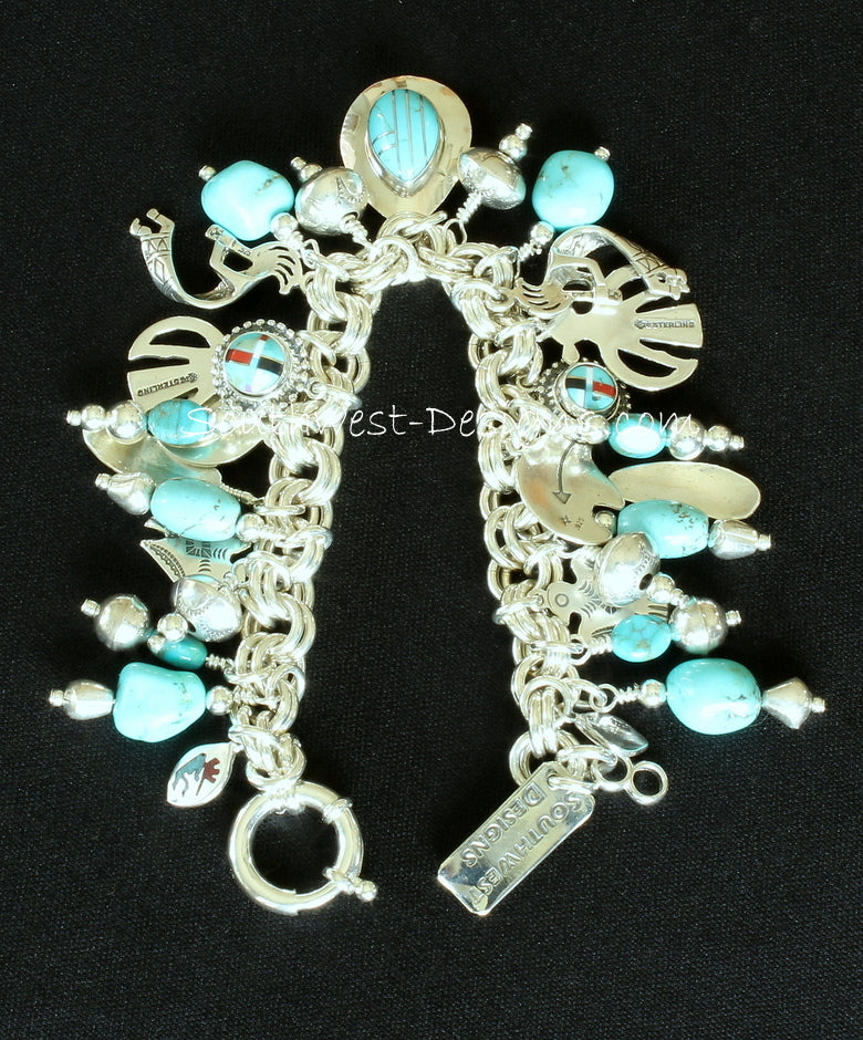 30-Charm Turquoise and Sterling Silver 9.2mm Link Bracelet with Sterling Spring Ring Clasp