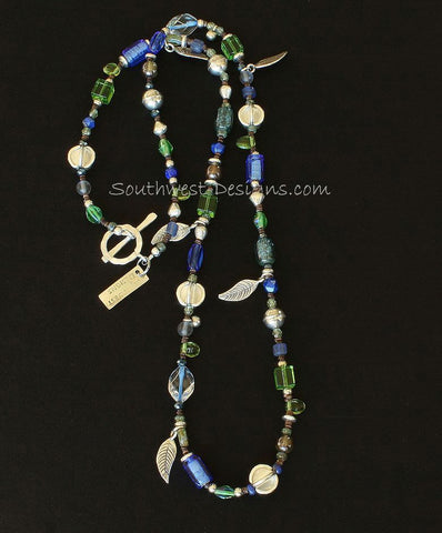 30-Inch Czech Glass & Indonesian Glass Necklace with Sterling Silver Leaf Charms, Beads & Toggle Clasp