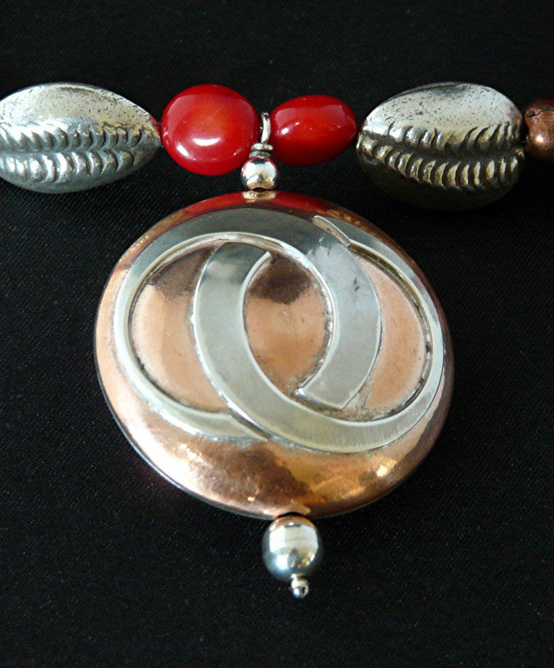 Coral Nugget Necklace with Sterling Silver and Copper Pendant