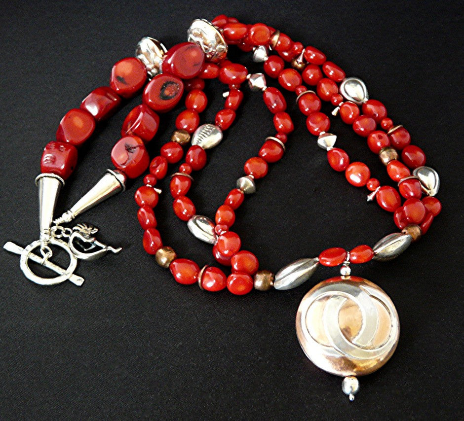 Sterling Silver and Copper Pendant Necklace with Coral Nuggets