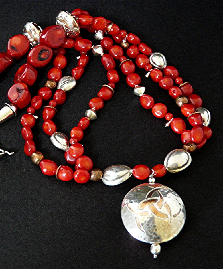 Coral Nugget Necklace with Sterling Silver & Copper Pendant
