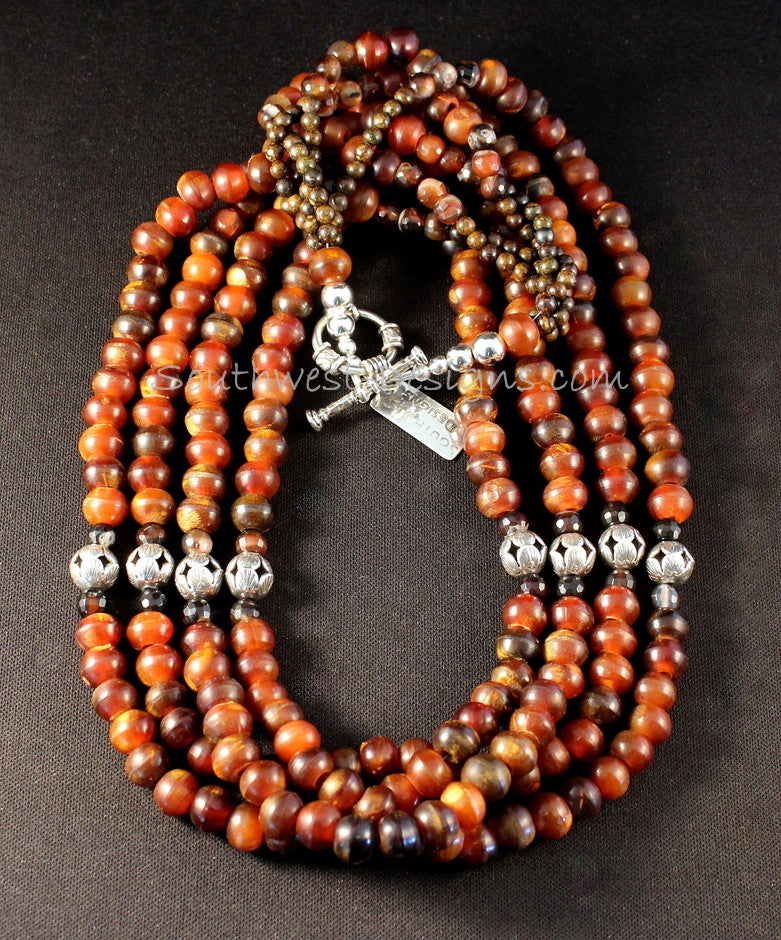 4-Strand Horn Bead Necklace with Carnelian, Bronzite and Sterling Silver