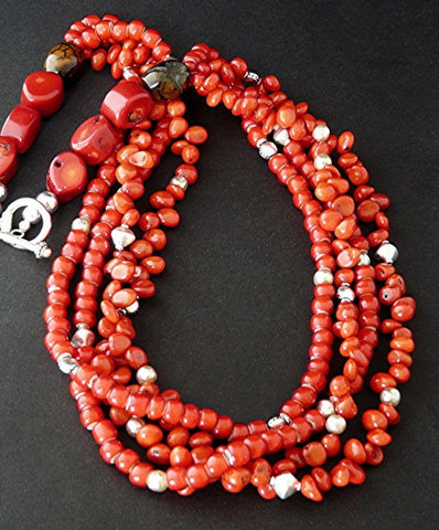 Coral and White Heart Bead Necklace with Sterling Silver