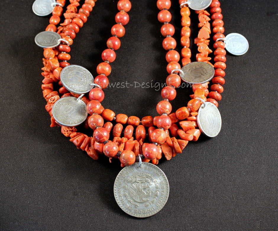 Vintage Coral and Apple Coral 4-Strand Necklace with Mexican Silver