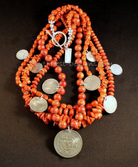Vintage Coral & Apple Coral 4-Strand Necklace with Mexican Silver Coins and Sterling Silver