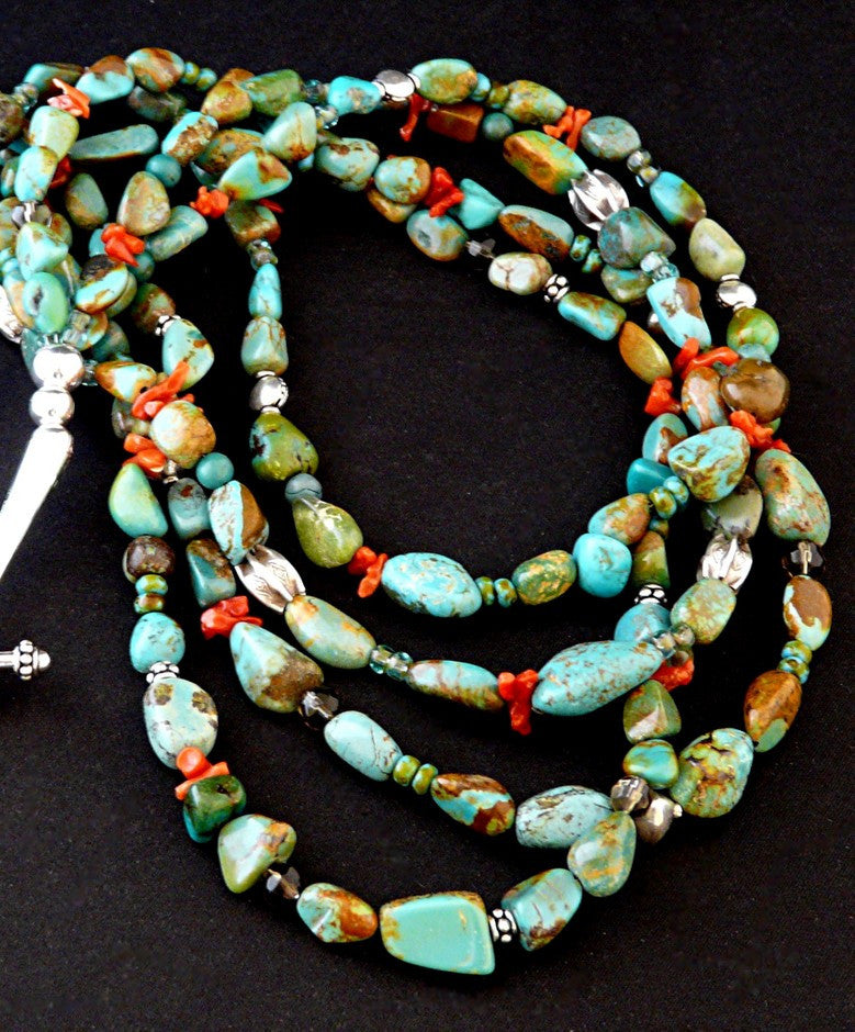 4-Strand Nevada Turquoise Nugget Necklace with Sterling